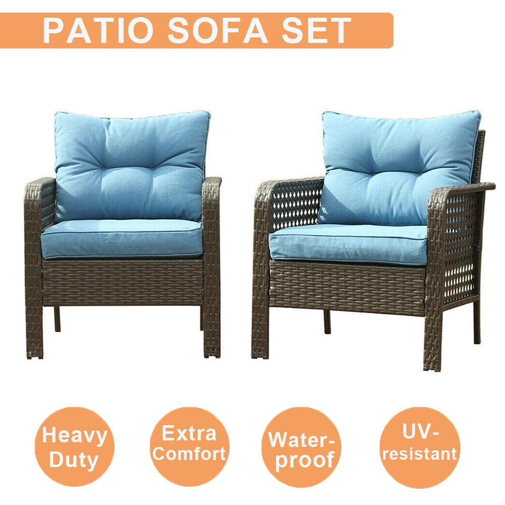 Garden Furniture - 2 PCS Patio Rattan Sofa Set Outdoor Wicker Garden Furniture Couch Chair Blue US