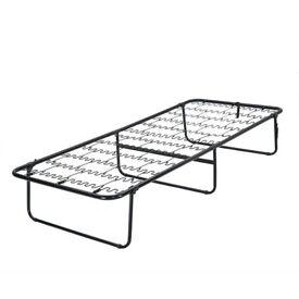 Single Folding Guest Metal Bed Frame Steel Compact Fold Away - Unused