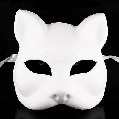 White Blank Paper Mache Cat Mask Cat Masquerade Mask, Gato Halloween Mask