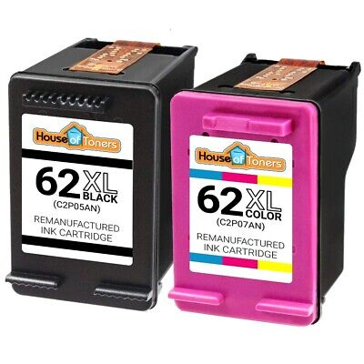 2 Pack Reman HP 62XL Black + Color Ink for ENVY 5640 5642 5643 5644