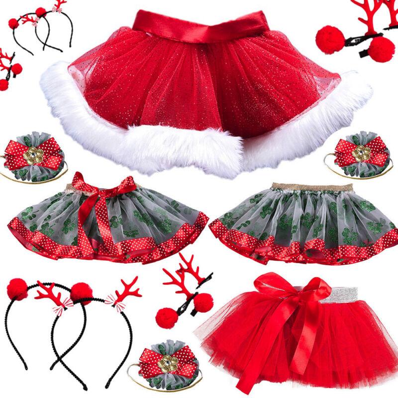 Baby Girls Pettiskirt Christmas Tutu Ballet Skirts Mesh Skirt + Hair Hoop Set