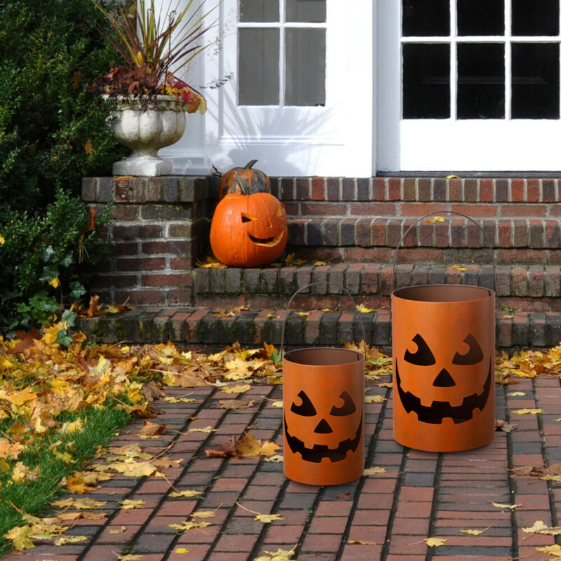 Glitzhome Set of 2 Halloween Jack O Lantern Hollow Out Candle Holder Party Decor