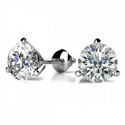 18k Brilliant Cut Stud - 2CT Round Solid 18K White Gold Brilliant Cut Martini ScrewBack Stud Earrings