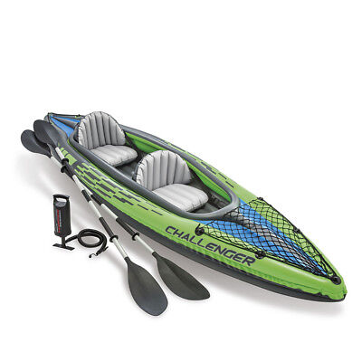 2019 Intex K2 Challenger Kayak Two Man Inflatable Canoe + Oars and Pump #68306