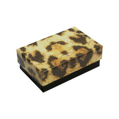 Gift Boxes Jewelry Leopard Print Cotton Filled Batting Box 100 Pc 2-58x1-12