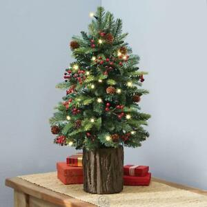 Hammacher Tabletop Prelit Holiday Christmas Tree 2 Tall Pre Decorated 76 Branch