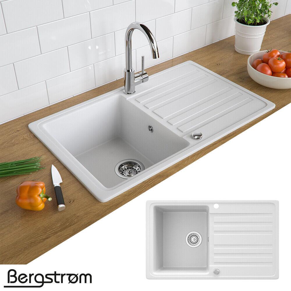 Bergström Granit Spüle Küchenspüle Einbauspüle Spülbecken 765x460mm Farbasuwahl Weiß