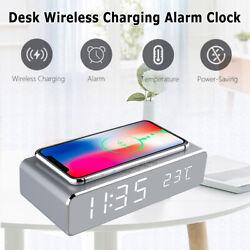 Alarm Clock USB Fast iOS Android Charging Wireless Calendar Power Saving Office