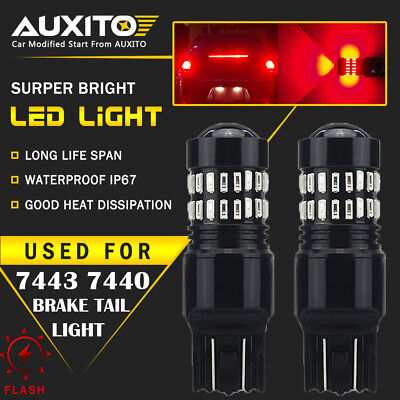 2 PC AUXITO 7443 7440 Brake Tail Stop Light Red Flash Strobe Blinking LED Bulb (Red Marker Turn Signal Bulbs)