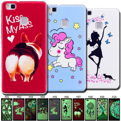 Cute Painted TPU Luminous Skin Glow In The Dark Case Cover Soft Back For Huawei](Glow Paint For Skin)