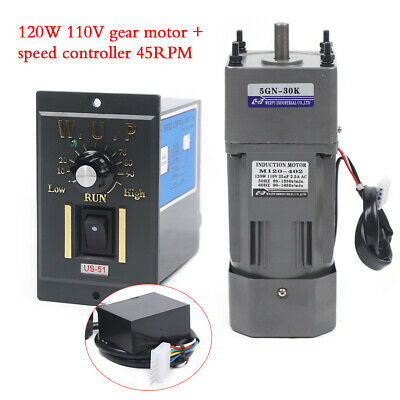 110v 120w 30k Ac Gear Motor Electricvariable Speed Reduction Controller Adj New
