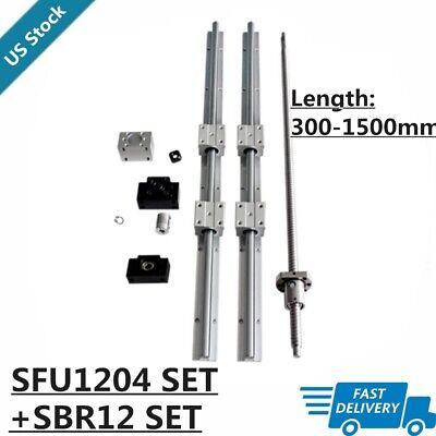 12mm Sbr12 Linear Rail Set Rmsfu1204 Ballscrew Kit 300-1500mm For Cnc Diy Us