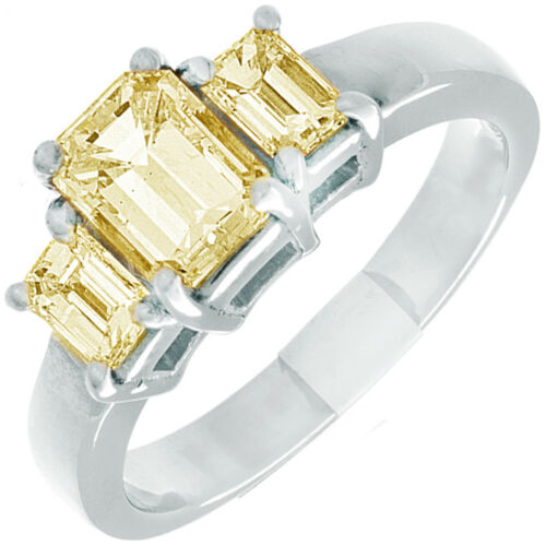 2.02 CTW Emerald cut Diamond Engagement Ring 18K Gold Fancy Yellow GIA certified