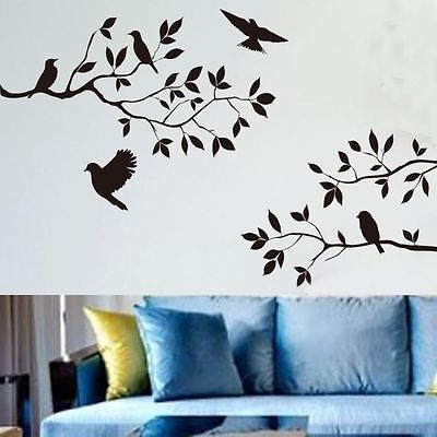 Removable Birds Tree Branches Wall Stickers Vinyl Decals Art Mural Home Decor US