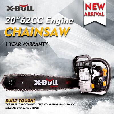 "X-BULL 62cc Chainsaw 20"" Bar Gasoline Powered Chain Saw Engine Cutting 2 Cycle."