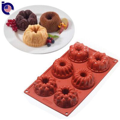 6-Cavity Mini Bundt Savarin Cake Silicone Mold Chocolate Dount Cookie Baking Pan 6 Cavity Pan