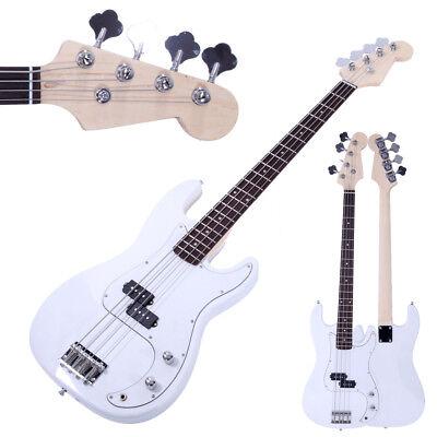 White Beginner Band 4 String Electric Bass Guitar