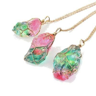 Colorful Natural Crystal Chakra Rock Necklace Irregular Design Rainbow Stone