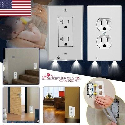 (Plug Cover LED Night Angel Wall Outlet Face Hallway Bedroom Bathroom Safty Light)