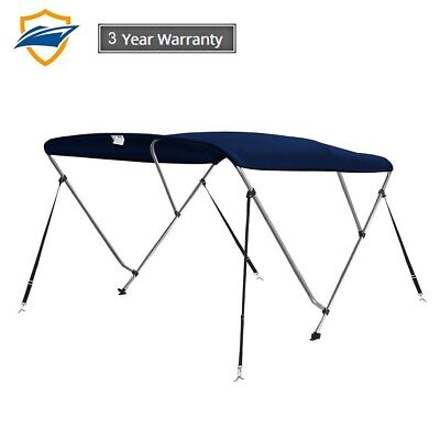 3 Bow Bimini Boat Top Cover with storage boot, Color Navy Blue, w/4 straps 3 Bow Bimini Top Storage