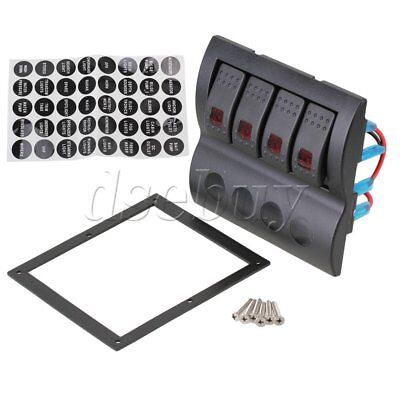12v Overload Rocker Switch Panel For Marine Boat Caravan 4 Gang