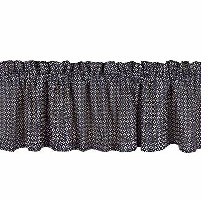 New Primitive Country Cottage Chic NAVY BLUE DITSY PRINT Floral Curtain Valance