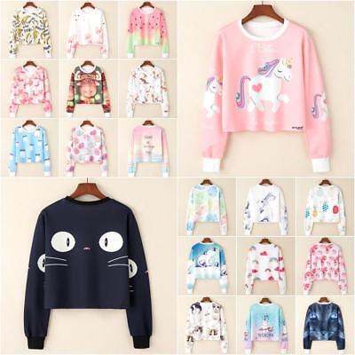 Women Korean Cartoon Animal Print Sweatshirt Sweater Velvet Pullover Tops Hoodie