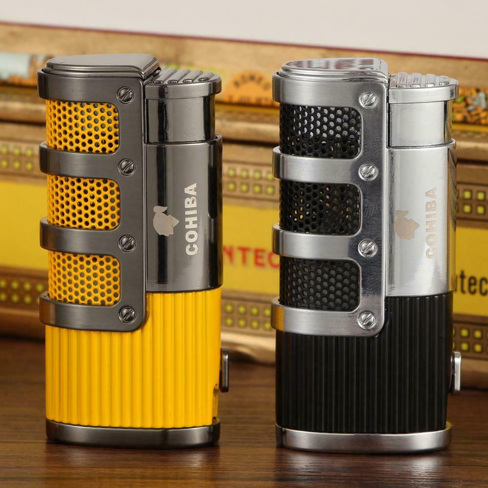Cohiba Tripe Jet Torch Flame Cigar Lighter With Cigars Cutte
