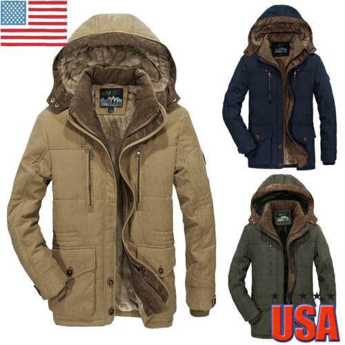 Men's Fur Lined Jacket Coats Thicken Outerwear Super Warm Wi