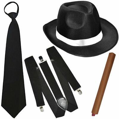 German Trendseller® -Mafia - Kostüm - Set - Deluxe | Gangster Schwarz/Weiß (Gangster Kostüme)