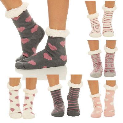 Hüttensocken Kuschelsocken Damen Socken Strümpfe ABS Warm Hausschuhe 68