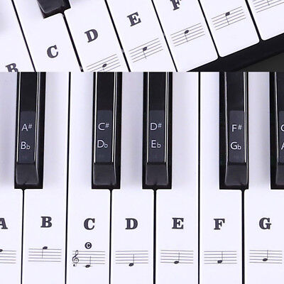 Music Keyboard Piano Stickers  88/61/54/49 Key removable white Laminted stickers