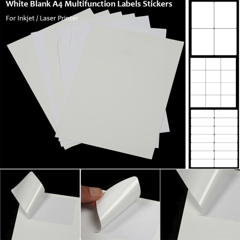 Address Labels White A4 Sheets Self Adhesive Stickers for In