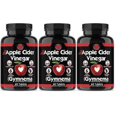 Natural Weight Loss Pills - Apple Cider Vinegar Pills, ACV Weight Loss,100% Natural Fast Fat Burner 3 Pack