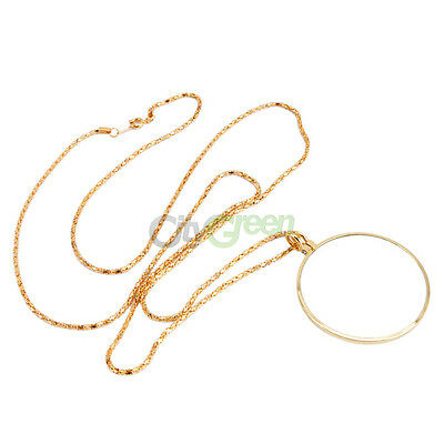 Necklace Magnifier Loupe 5X Magnifying Glass Pendant Gold Color
