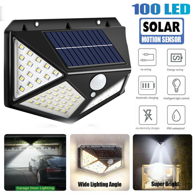 100 LED Solar Powered Light PIR Motion Sensor Security Outdoor Garden Waterproof