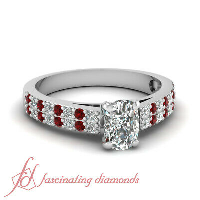 .80 Ct Cushion Cut Diamond & Ruby Two Row Engagement Ring Pave Set 14K Gold GIA