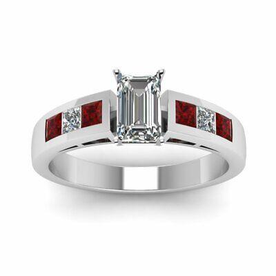 Princess Ruby Channel Set Engagement Ring 1.50 Ct Emerald Cut VVS2 Diamond GIA 1