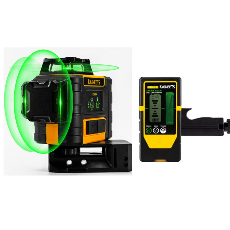 kaiweets 3D Rotary IP54 Green Beam Self-Leveling Multi Line Laser Level VS DeWAL