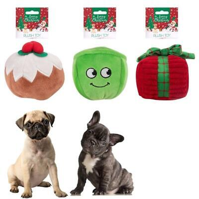 Pack Of 3 Plush Christmas Dog Toys Squeaker Pet Gift Pudding Sprout Xmas