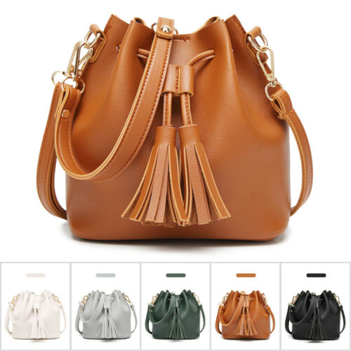 Fashion Leather Drawstring Handbags Long Strap Shoulder Purs