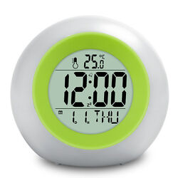 BALDR B0325 Alarm Clock  Display Time Date and Indoor Temp Green Backlight