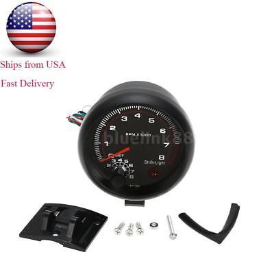 Car 3.75'' White Shift Light Tachometer Tacho Gauge 0~8000RPM