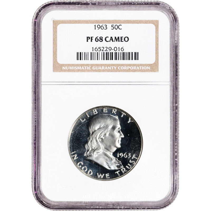1963 US Franklin Silver Half Dollar Proof 50C - NGC PF68 Cameo