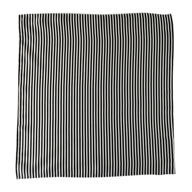 ITALO FERRETTI Black White Striped Silk Handmade Pocket Square Handkercheif
