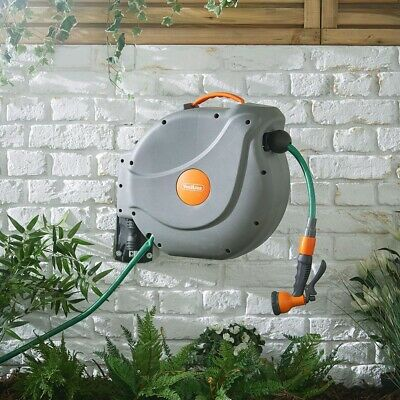 Retractable Garden 30m Hosepipe Reel Watering Spray Nozzle Fittings Wall Mounted