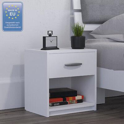 Nachtschrank Nachttisch Kommode Schrank Schlafzimmer Schublade Ablage Weiß