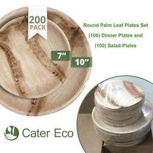 NEW CaterEco Round Palm Leaf Plates Set (200 Pack) | (100) Dinner Plates and (100) Salad Plates | Ecofriendly Disposa...