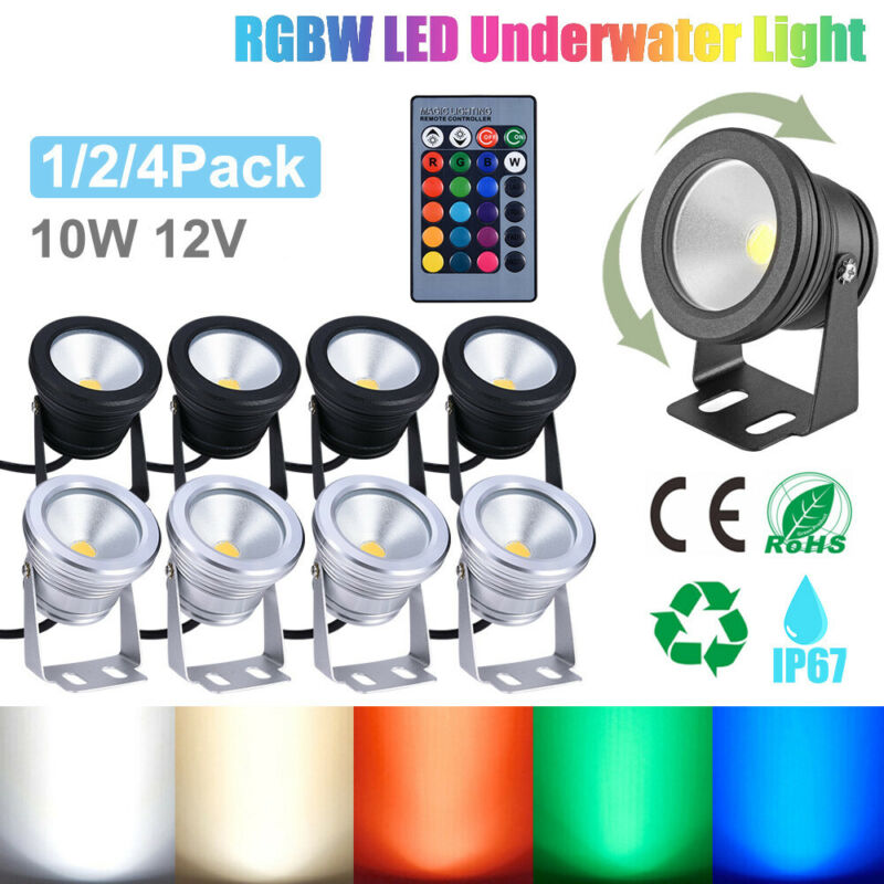 RGB LED Underwater Light Submersible Spot Light Garden Pond Remote Control Lamps