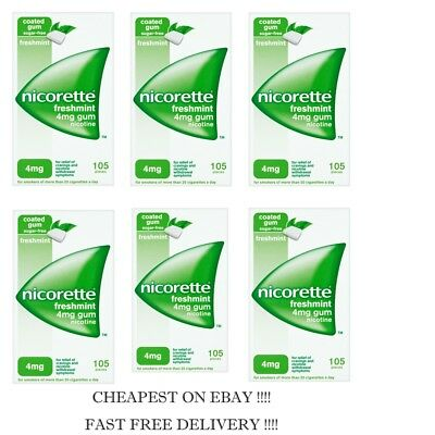 - Nicorette Gum Freshmint 4mg 105 pieces PACK OF 6   2021 Expiry